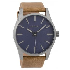 Oozoo C9625 Herrenuhr 45 mm Lederband Blau/Camel
