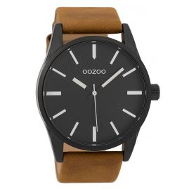 Oozoo C9627 Men's Watch 45 mm Leather Strap Black/Brown