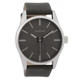Oozoo C9628 Herrenuhr 45 mm Lederband Grau