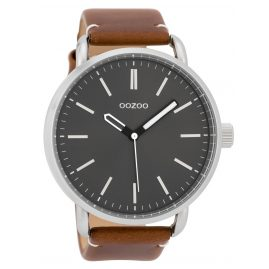 Oozoo C9632 Men's Watch 48 mm Leather Strap Grey/Brown