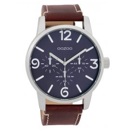Oozoo C9651 Herrenuhr mit Lederband Blau/Weinrot 45 mm