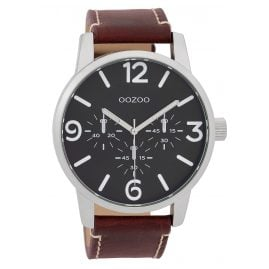 Oozoo C9652 Men's Watch With Leather Strap Black/Red-Brown 45 mm
