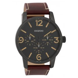 Oozoo C9653 Men's Watch with Leather Strap Black/Red-Brown 45 mm