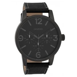 Oozoo C9654 Men's Watch with Leather Strap Black 45 mm