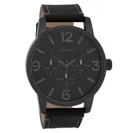 Oozoo C9654 Herren-Armbanduhr mit Lederband Schwarz 45 mm