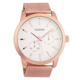 Oozoo C9660 Herrenuhr mit Milanaisearmband Weiß/Rosé 47 mm