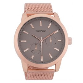 Oozoo C9662 Men's Watch with Mesh Bracelet Taupe/Rose 47 mm