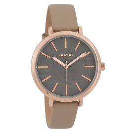Oozoo C9695 Ladies' Watch with Leather Strap Grey/Beige 38 mm