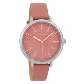 Oozoo C9696 Ladies' Watch with Leather Strap Grey-Pink 38 mm