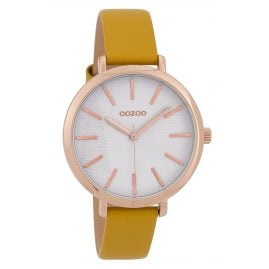 Oozoo C9697 Ladies' Watch with Leather Strap White/Yellow 38 mm
