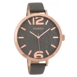 Oozoo C9713 Damenuhr mit Lederband Grau 45 mm