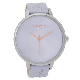 Oozoo C9716 XL Ladies' Wrist Watch with Leather Strap Lilac 48 mm