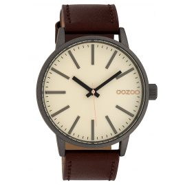 Oozoo C10010 Armbanduhr Creme/Braun 45 mm