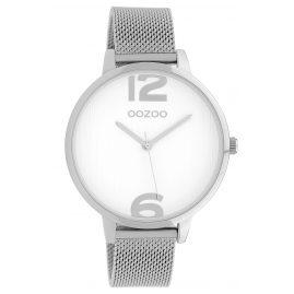 Oozoo C10138 Armbanduhr mit Milanaiseband Weiß/Silber 42 mm