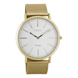 Oozoo C7389 Vintage Armbanduhr Weiß/Gold 40 mm