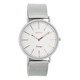 Oozoo C7396 Vintage Damen-Armbanduhr Weiß/Silber 36 mm