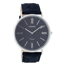 Oozoo C7701 Vintage Mens Watch Dark Blue 44 mm