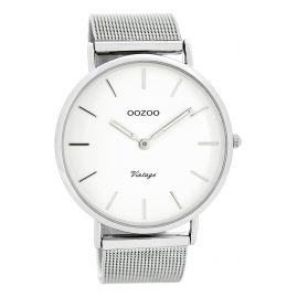 Oozoo C7720 Vintage Gents Watch White/Silver 44 mm