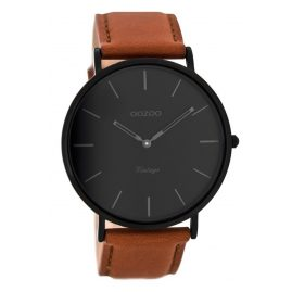 Oozoo C8126 Vintage Watch with Leather Strap Cognac/Black 44 mm