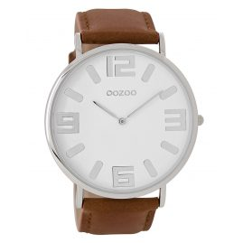 Oozoo C8854 Mens Watch with Leather Strap Vintage Brown/White 48 mm