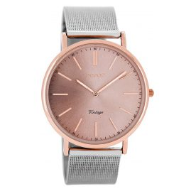 Oozoo C8158 Vintage Unisex Watch Silver / Rose 40 mm
