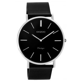 Oozoo C8865 Armbanduhr in Unisexgröße Vintage Schwarz 40 mm