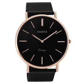 Oozoo C8868 Herren-Armbanduhr Vintage Schwarz/Rosé 44 mm