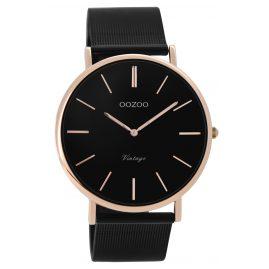 Oozoo C8869 Unisex Armbanduhr Vintage Schwarz/Rosé 40 mm