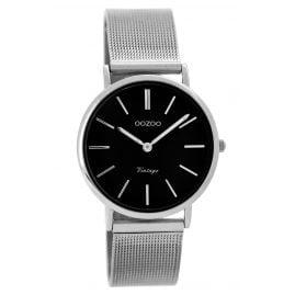 Oozoo C8873 Damen-Armbanduhr Vintage Silber/Schwarz 32 mm