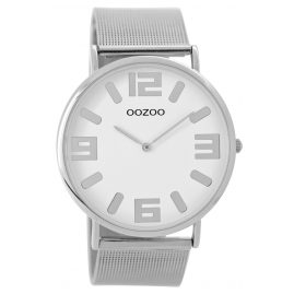 Oozoo C8880 Unisex Armbanduhr Silber/Weiß 42 mm