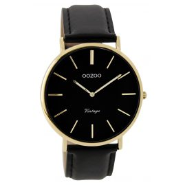 Oozoo C9300 Watch Vintage Black / Gold Unisex 40 mm