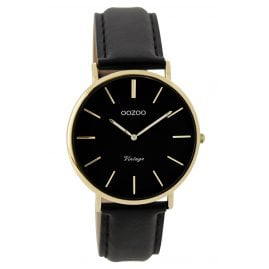 Oozoo C9301 Ladies Watch Vintage Black / Gold 36 mm