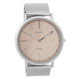 Oozoo C9355 Armbanduhr Vintage Silberfarben/Altrosa 44 mm