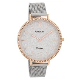 Oozoo C9396 Ladies' Watch Vintage Silver/Glitter 40 mm with Mesh Bracelet