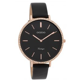 Oozoo C9804 Ladies' Watch Vintage Black 40 mm with Leather Strap