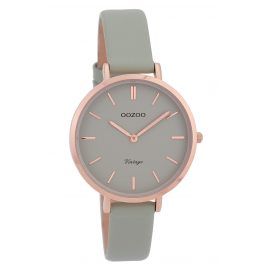 Oozoo C9810 Ladies' Watch Vintage Stone-Grey 34 mm with Leather Strap