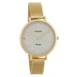 Oozoo C9828 Ladies' Watch Vintage Silver/Glitter 34 mm with Mesh Bracelet