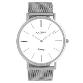 Oozoo C9900 Watch Vintage Silver/White 44 mm