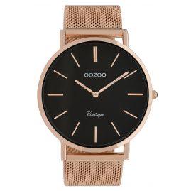Oozoo C9924 Armbanduhr Vintage Roségoldfarben/Schwarz 44 mm