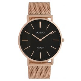 Oozoo C9925 Damen-Armbanduhr Vintage Roségoldfarben/Schwarz 40 mm