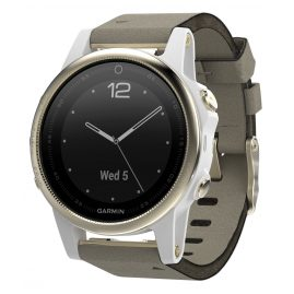 Garmin 010-01685-13 fenix 5S Saphir GPS Multisport Smartwatch Leder