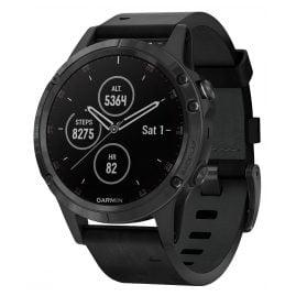 Garmin 010-01988-07 fenix 5 Plus Saphir GPS Multisport Smartwatch Lederband
