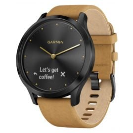 Garmin 010-01850-00 vivomove® HR Premium Fitness Tracker Smartwatch Black/Tan
