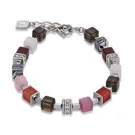 Coeur de Lion 4890/30-0319 Damen-Armband GeoCUBE Kristall Pavé Rot-Rosa