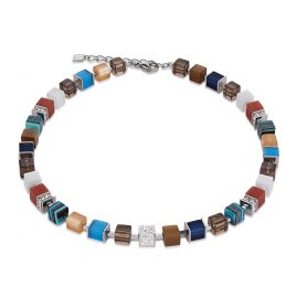 Coeur de Lion 4890/10-0711 Ladies Necklace GeoCUBE Crystals Pavé Blue Brown