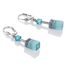 Coeur de Lion 4322/20-2000 Ladies Earrings Geo Cube Aqua
