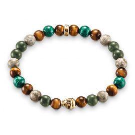 Thomas Sabo A1533-927-7 Bracelet Death´s Head Green/Brown