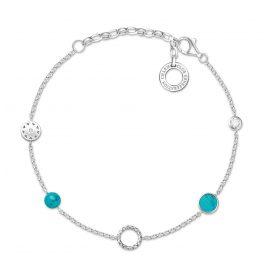 Thomas Sabo X0271-646-7-L19v Damenarmband für Charms Türkise Steine