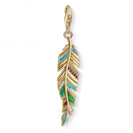 Thomas Sabo Y0033-471-7 Charm Pendant Gold Plated Colourful Feather