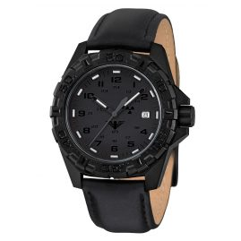 KHS REXT.L Mens Watch Reaper XTAC with Leather Strap Black